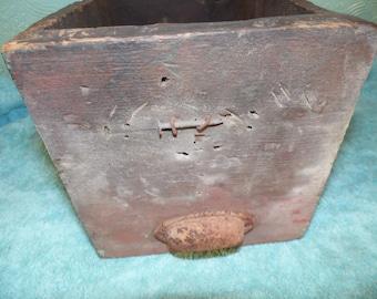 Vintage Retro Rustic Primative Wood Box  Drawer  Tool Box Garden Handmade Metal Handle