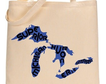 Great Lakes Canvas Tote Bag. Two Colors