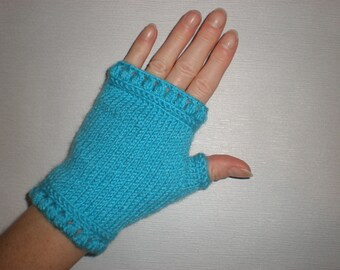 Hand-knitted turquoise color fingerless gloves/wrist warmers