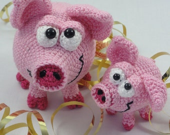 Amigurumi Crochet Pattern - Hamilton and Schnitzel the Piglets