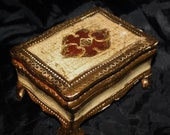 Antique Italian Footed Wooden Box ~Gold Gilded Baroque w/hinged Lid Beautifully Carved & Painted Folk Art Tole ca. 1900 wood