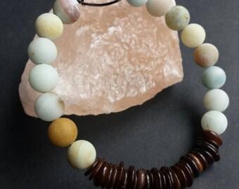 Men's Matte Amazonite Beaded Bracelet with Amber Rondelle Shell Beads