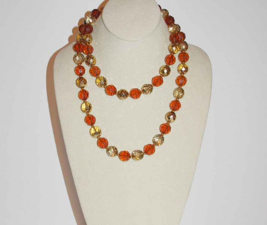 Joan rivers beaded necklace amber topaz and by scladydijewelry for Joan rivers jewelry necklaces