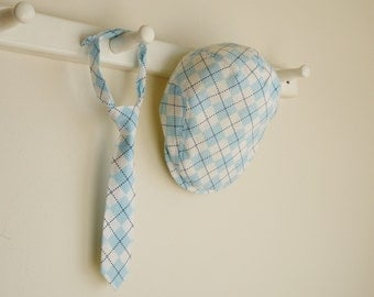 Baby blue argyle newsboy cap and necktie, infant photo prop hat and necktie, boy baby gift, Easter baby boy outfit  -  made to order