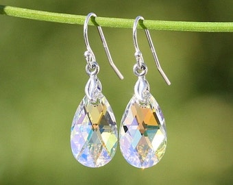 Genuine Swarovski Crystals in Sterling Silver Earrings - Bridal Earrings - Wedding Jewelry -   Swarovski Earrings Teardrops - DK338