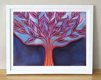 Blue Abstract  Painting - Landscape Tree - Modern Wall decor, Gorgeous PRINT, Bohemian Art Home decoration