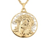 "Lord Jesus Pendant and Necklace Jewelry, Jesus Religious Medallion Hand cut, 14 Karat Gold and Rhodium Plated, 7/8 "" in Diameter, ( # 539 )"