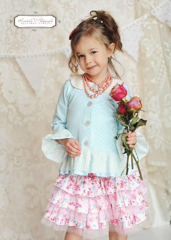 Special Deal....Instant Download PDF Sewing Pattern Adeline Knit Cardigan Top or Dress with Peter Pan Collar 3-6M to 10