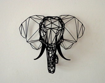 Medium Black 3D Printed Faceted Elephant