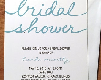 Clean and Classic Bridal Shower Invitation