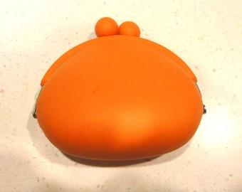 Sherbert Orange Rubber Snaps Shut Change Purse Retro Design