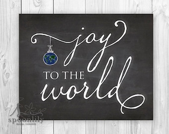 Joy to the World Chalkboard Style Art Print, Christmas Decor, Holiday Wall Art, Christmas Art Print, Fireplace Mantle Art Print