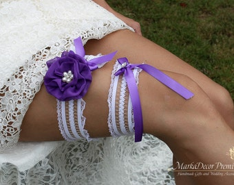 Bridal Flower Garter Set Wedding Lace Bridesmaids Jeweled Garter with Brooches, Crystals, Pearls and Handmade Flowers in White and Purple
