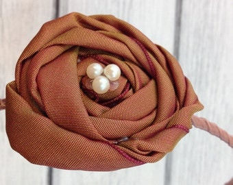 Vintage Chestnut Brown Taffeta Twisted Rosette on Satin Wrapped Skinny Headband