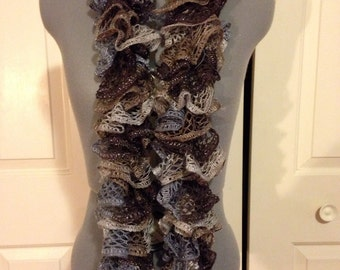 Handknitted Ruffle Scarf Gray/Tan/brown/charcoal Sparkle
