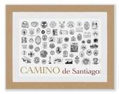 Camino de Santiago Stamps of the Camino de Santiago large art print