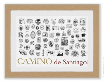 Camino de Santiago Stamps of the Camino de Santiago large art print