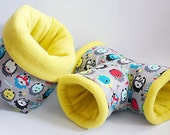 SAVE SHIPPING: 1x cosy cuddle sack / sleeping bag XXL + 1x T-tunnel for guinea pigs or hedgehogs (colourful hedgehogs/yellow)