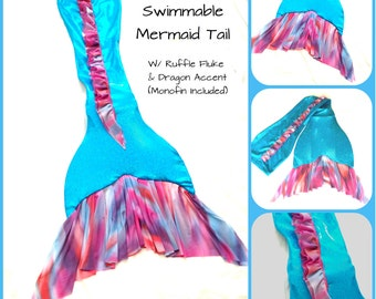"Swimmable Mermaid Tail ""Summer Sunset"" W/ Monofin"