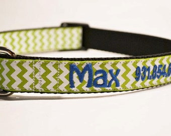 Personalized - 1 inch wide dog collar with green and white chevron print - made to order