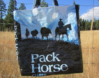 Upcycled Feedbag Tote. Pack Horse Handmade in Kalispell, Montana USA.
