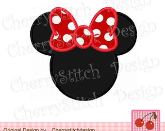 Minnie Mouse ears Machine Embroidery Applique Design - 4x4 5x5 6x6""