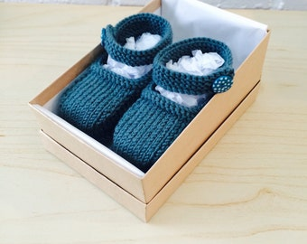 Hand knitted dark teal Mary-Jane baby shoes - 0-3, 3-6 and 6-9 months