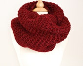 Chunky Knit Scarf - Gift for Her Knitted Scarf, Chunky Infinity,  Cozy Loop Scarf,  Winter Women Accessories Scarves