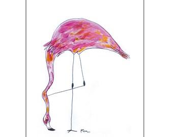 Catchii illustration, with originally hand-painted illustration of flamingo head down