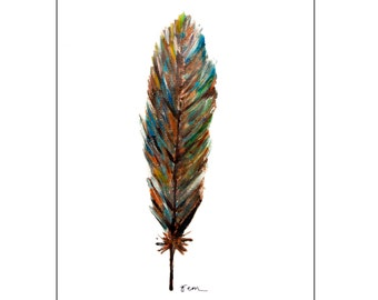 Catchii illustration, with originally hand-painted illustration of blue gray feather
