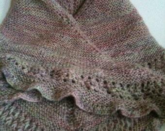 SAMPLE. Hand knitted Bandana Wrap Shawl.