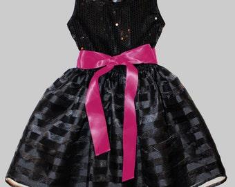 Black w. fushia  Sequin Dress - Infant, Toddler & Girls