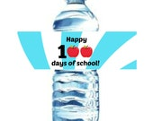 INSTANT Download 100th DAY blue of School Water Bottle / napkin ring Label PRINTABLE Download - Fun Family Friend Party diy