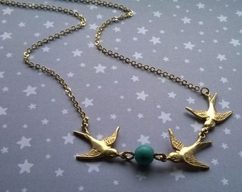 The Swallow Bird on Turquoise Gemstone Bead Necklace