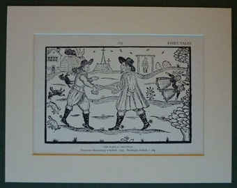 Vintage Fairy Tale Print of Babes in the Wood 16th century woodcut art, Roxburghe Ballad decor - Sword Fighting - Tudor Gift - Duelling Art