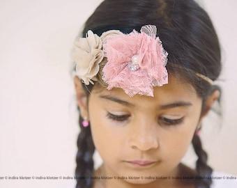 Beige Pink Headband ,Girl Pink Lace Headband ,Rosettes with Lace Flower headband