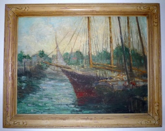 William S Demoulin Painting Boats at Wilmington California Los Angeles Ca 1930's Newcomb & Macklin Style Frame