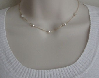 Dainty Pearl Necklace.White Pearl Choker.Sterling Silver.Gold Filled.Rose Gold. Wired Pearl.Layered Jewelry.Birthday.Wedding.Bridesmaid Gift