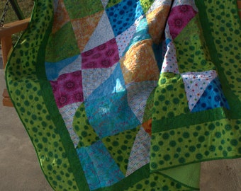 Handmade Bright and Cheery Twin Size Quilt