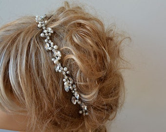 Marriage  Bridal Headband, Rhinestone and Pearl Tiara, Wedding Crown,  Bridal Hair Accessory, Wedding hair Accessory