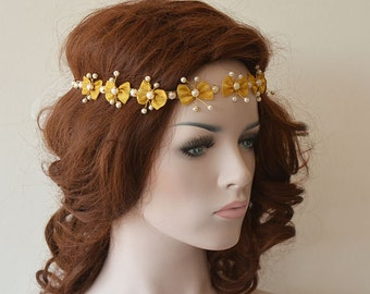 Bridal Hair Accessory, Gold Headband, Wedding Pearl Headband, Wedding Hair Accessory, Wedding Head piece