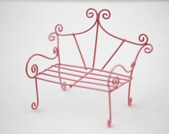 Fairy Garden Bench Miniature Furniture Accessories Pink Terrarium Whimsical  Style
