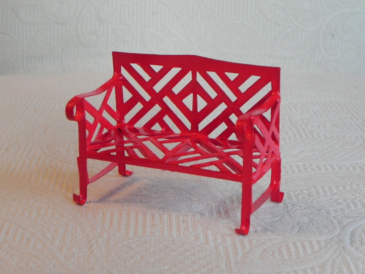 Fairy Garden Bench Furniture Metal Red By Thelittlehedgerow