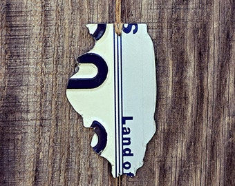 "Upcycled Illinois License Plate ""State of Illinois"" Ornament"