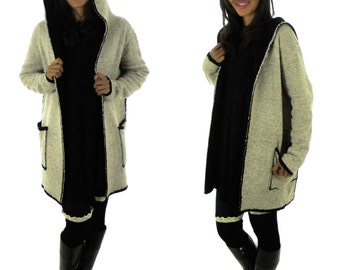 FG900 double face hooded layered look size M/L beige/black