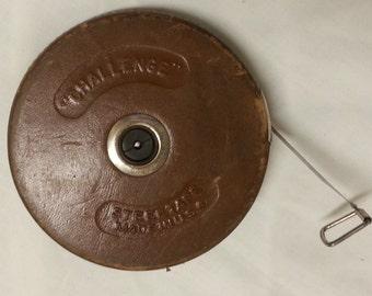 Lufkin Rule steel tape measure in a leather case very old