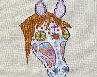 Horse Sugar Skull Day of the Dead Cross Stitch Pattern