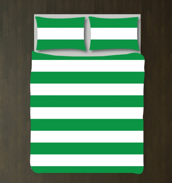 custom rugby striped duvet bedding set-green and