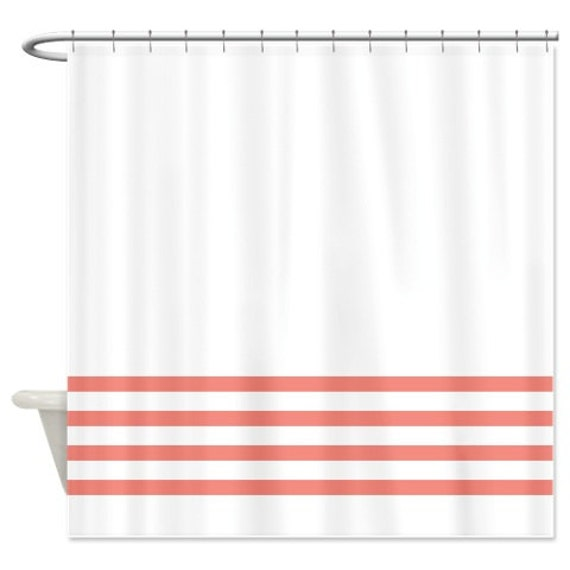 Striped Shower Curtain White With Coral By GatheredNestDesigns