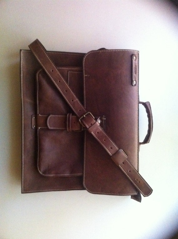 Doubled Cognac Leather Briefcase, Macbook Pro air, Macbook Retina Bag,  briefcase, Man Briefcase,Leather Bag,Gift for Him,Laptop Bag